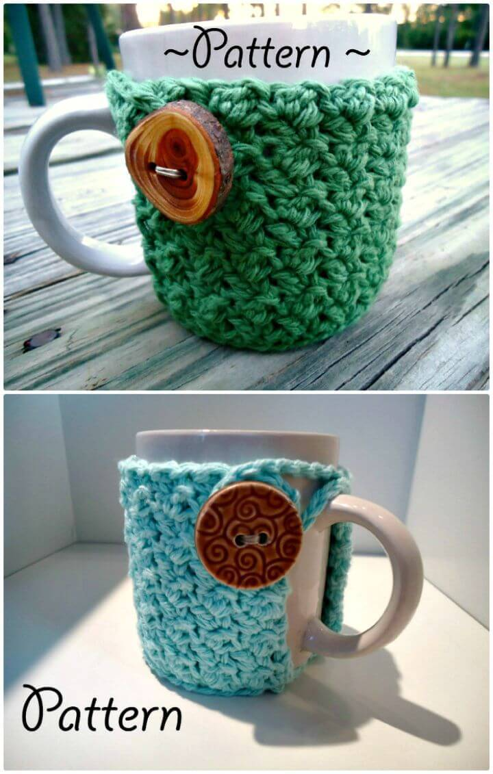 Easy Free Crochet Textured Coffee Mug Cozy Pattern