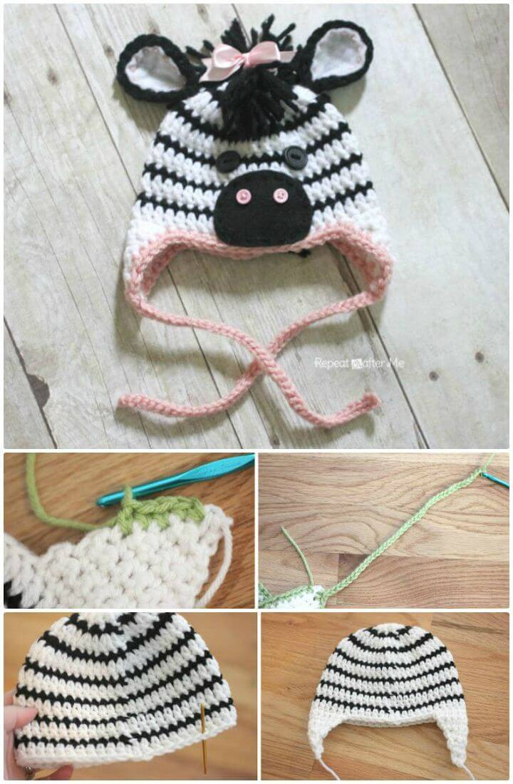 Make A Free Crochet Zebra Hat