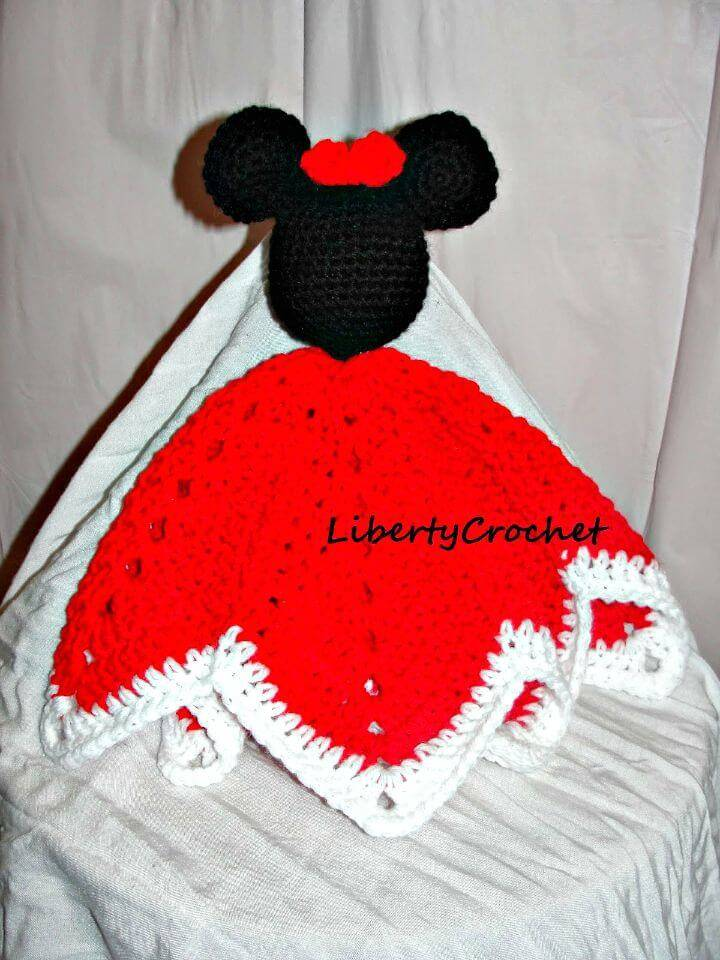 Crochet Mouse Head Lovey Blanket - Free Crochet Pattern