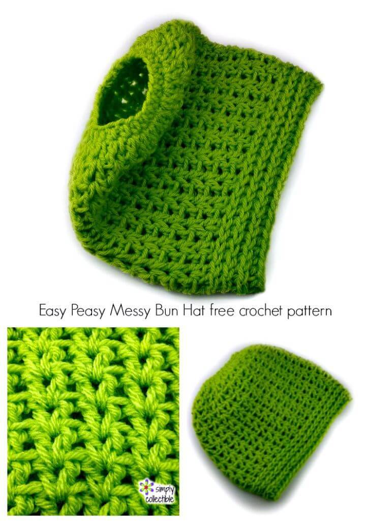 Easy Peasy Messy Bun Hat - Free Crochet Pattern