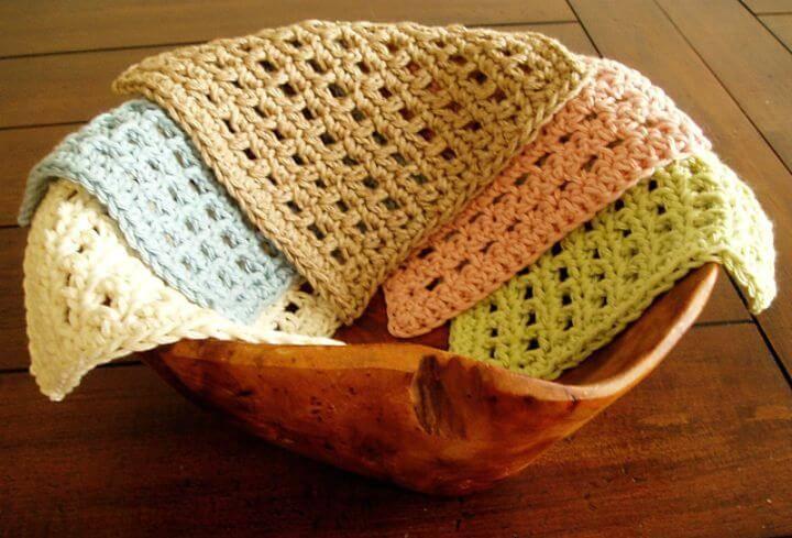 Easy Waffle Crochet Dishcloth Pattern