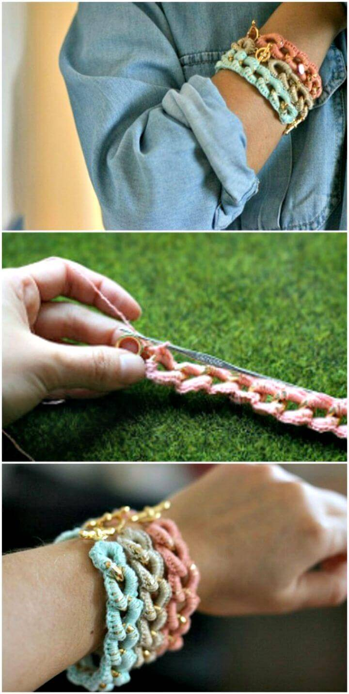 Easy And Simple Crocheted Chain Bracelets Pattern