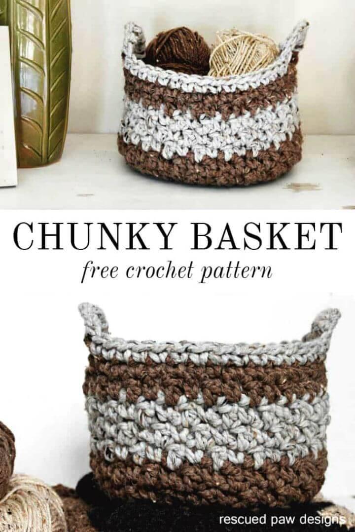 Free Crochet Chunky Basket Pattern