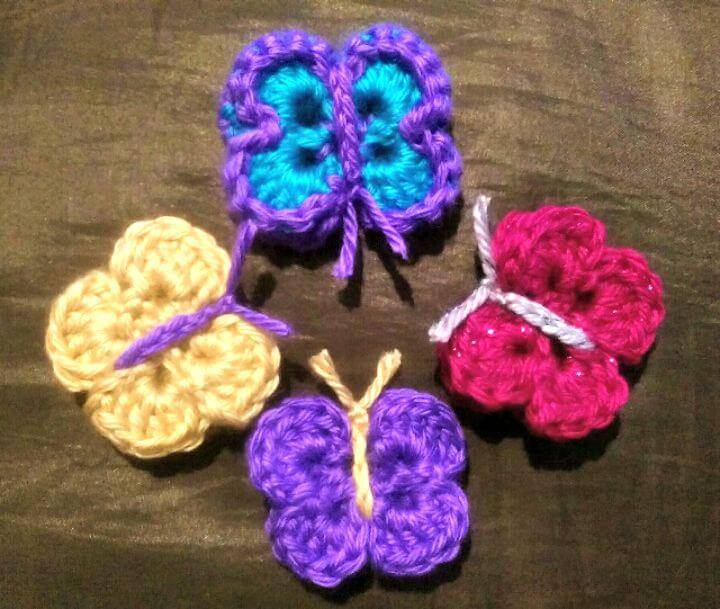 Easy Free Crochet 3D Butterfly Kisses Pattern