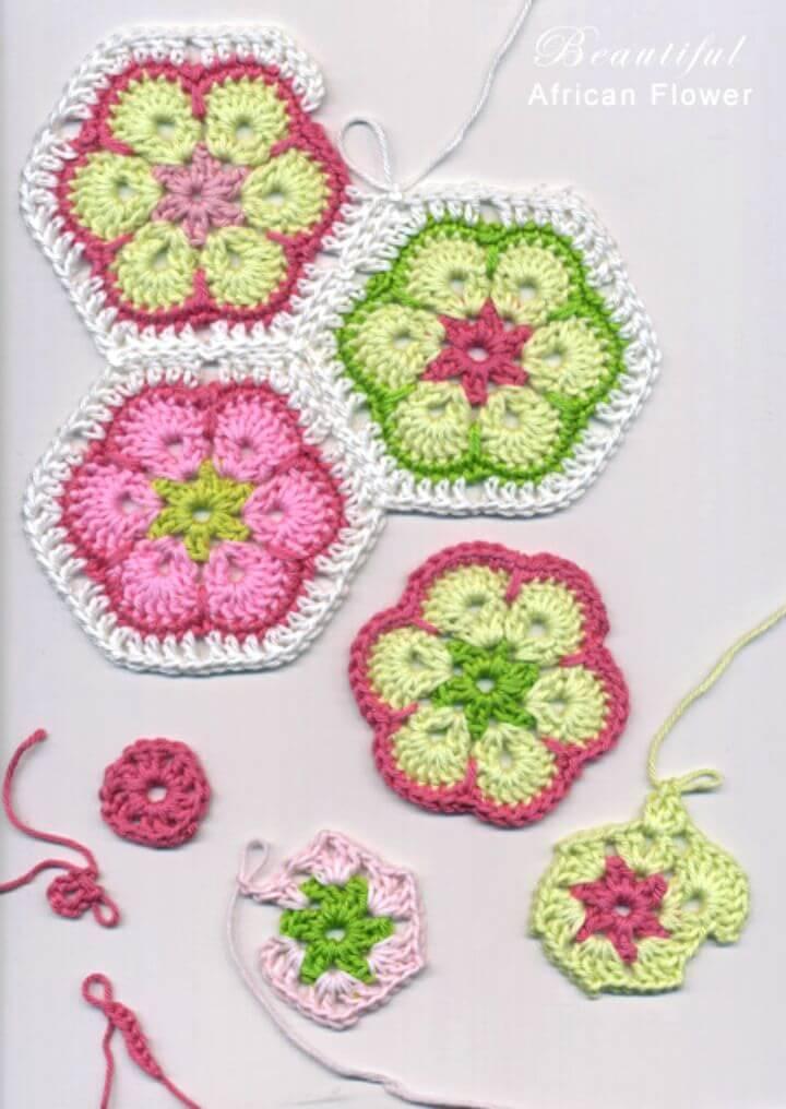 Easy Free Crochet African Flower Granny Motifs Pattern