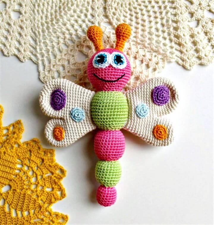Easy Free Crochet Amigurumi Butterfly Baby Rattle Pattern