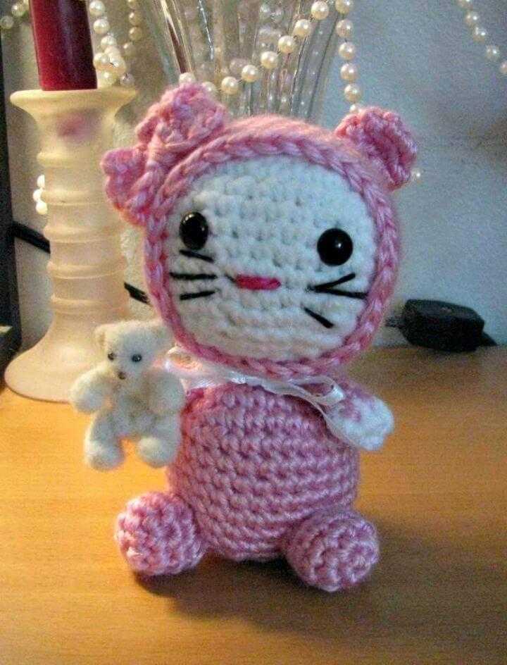 How To Free Crochet Amigurumi Cat In Jammiesr Pattern