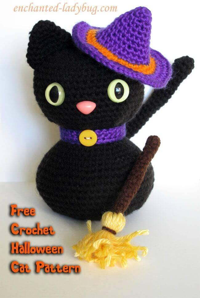 Easy Free Crochet Amigurumi Halloween Black Cat Pattern