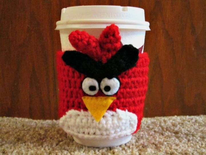 How To Crochet Angry Birds Coffee Cozy - Free Pattern