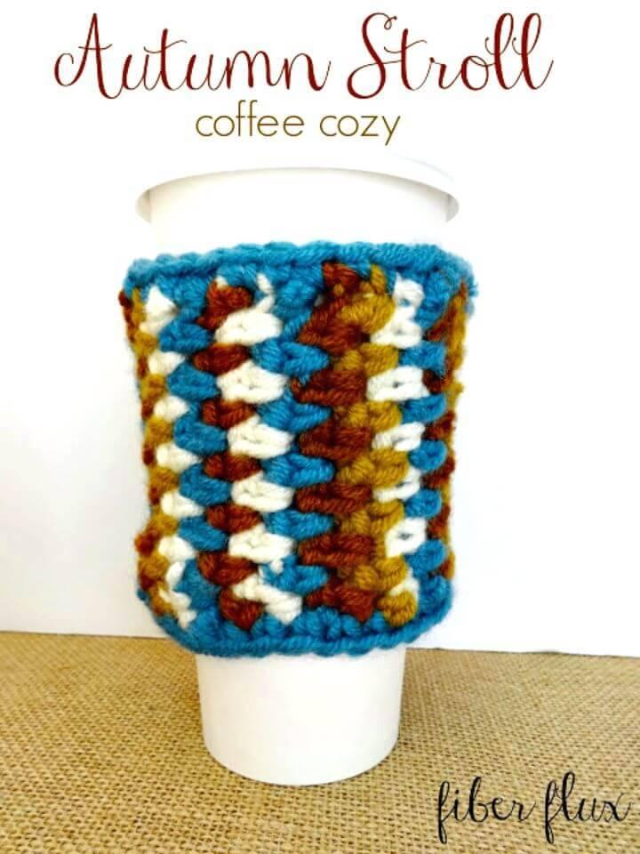 Easy Free Crochet Autumn Stroll Coffee Cozy Pattern