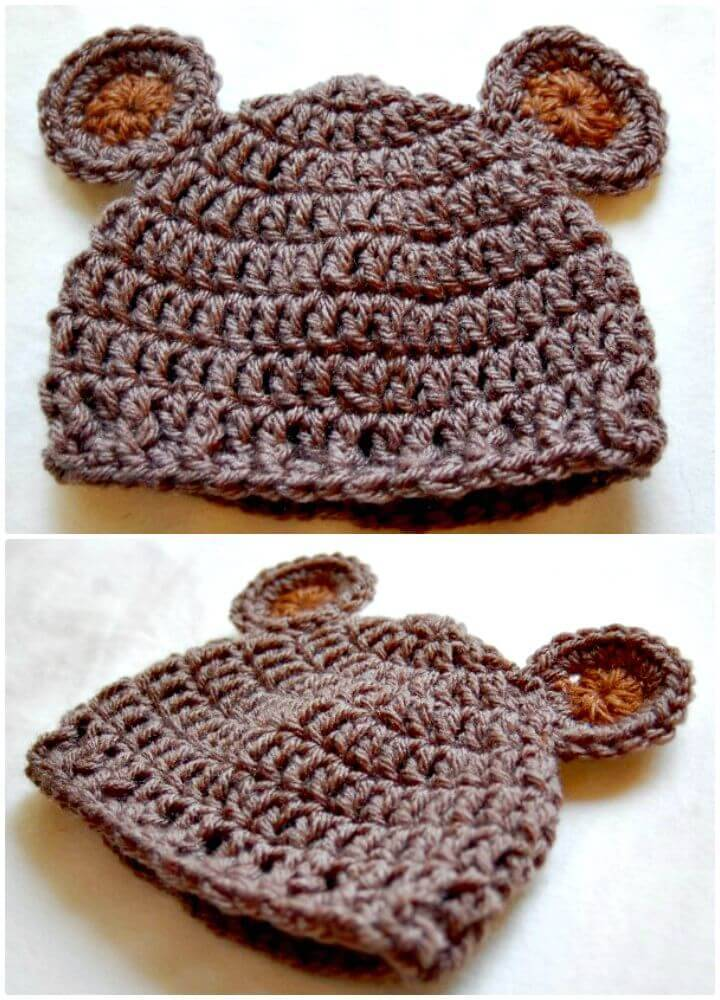 Free Crochet Baby Hat Pattern - Newborn Bear