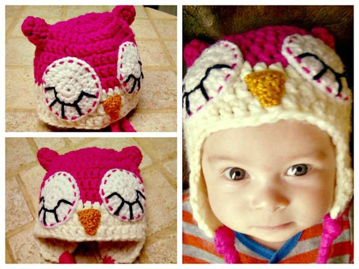 Free Crochet Baby Owl Hat With Ear-flaps Pattern