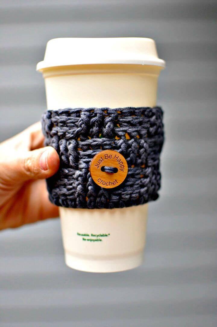 Free Crochet Basket Weave Coffee Cozy Pattern