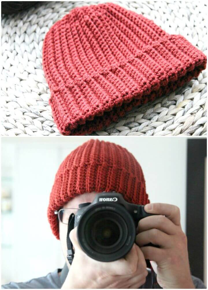 How To Free Crochet Beginner Ribbed Hat Pattern