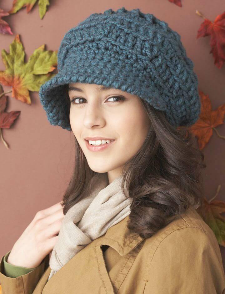 Free Crochet Bernat Slouchy Peaked Hat Pattern