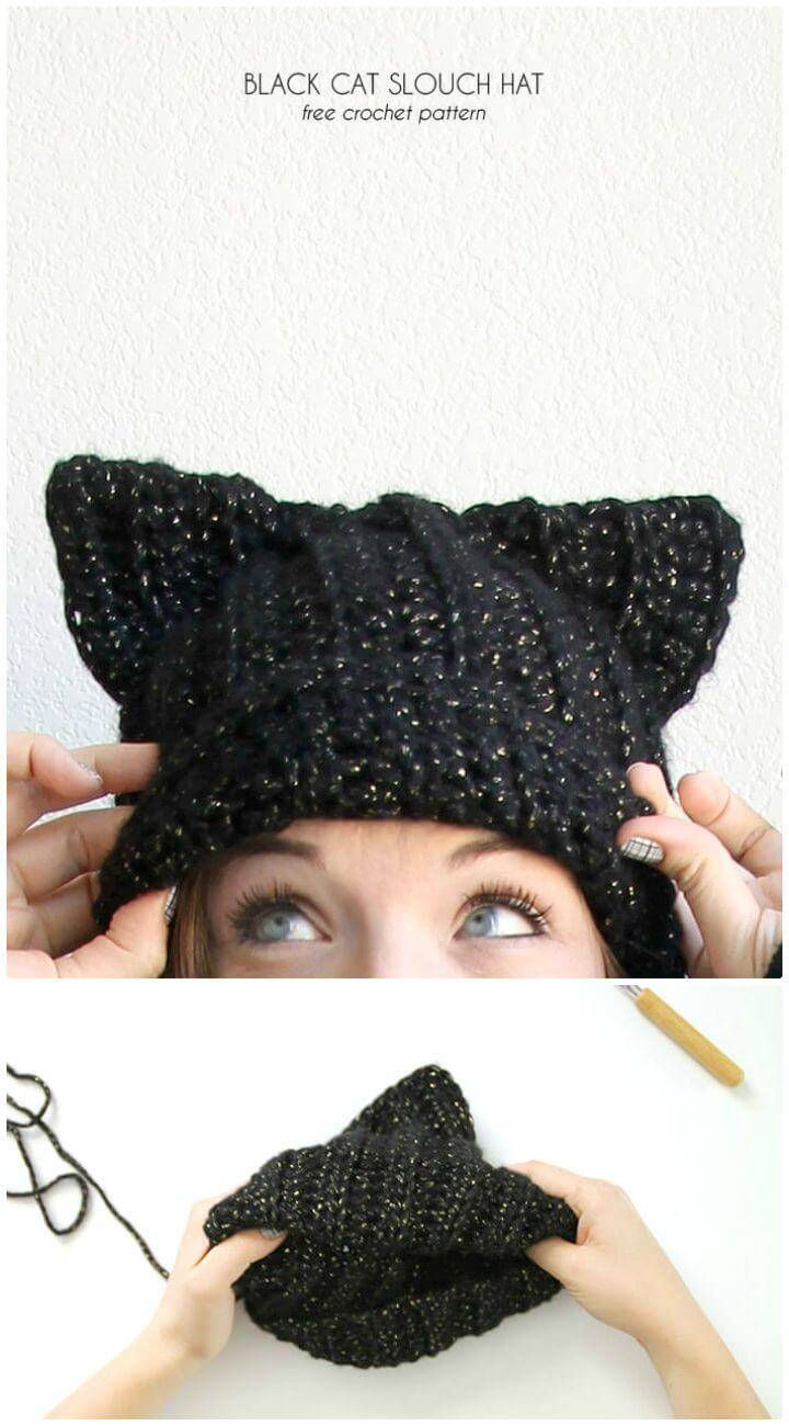 Easy Free Crochet Black Cat Slouch Hat - Cat Hat Pattern