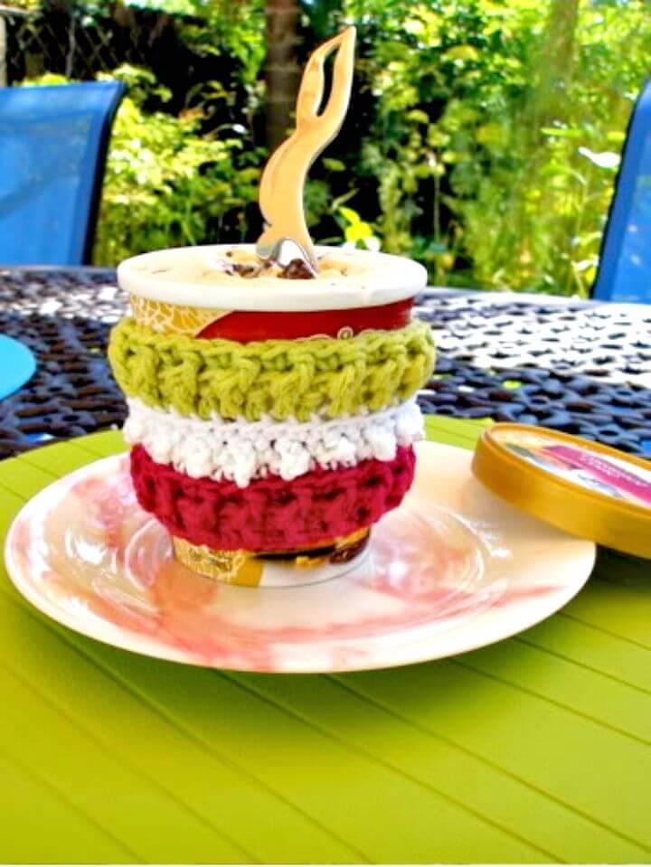 Easy Free Crochet Brain Freeze Coffee Cozy Pattern