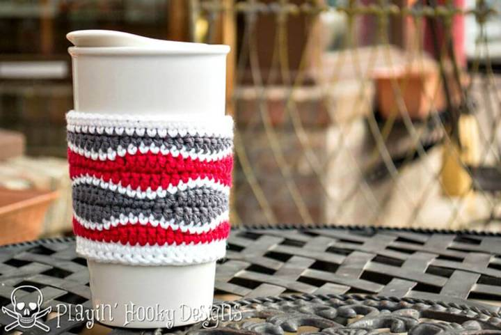 How To Free Crochet Brain Waves Coffee Cozy Pattern