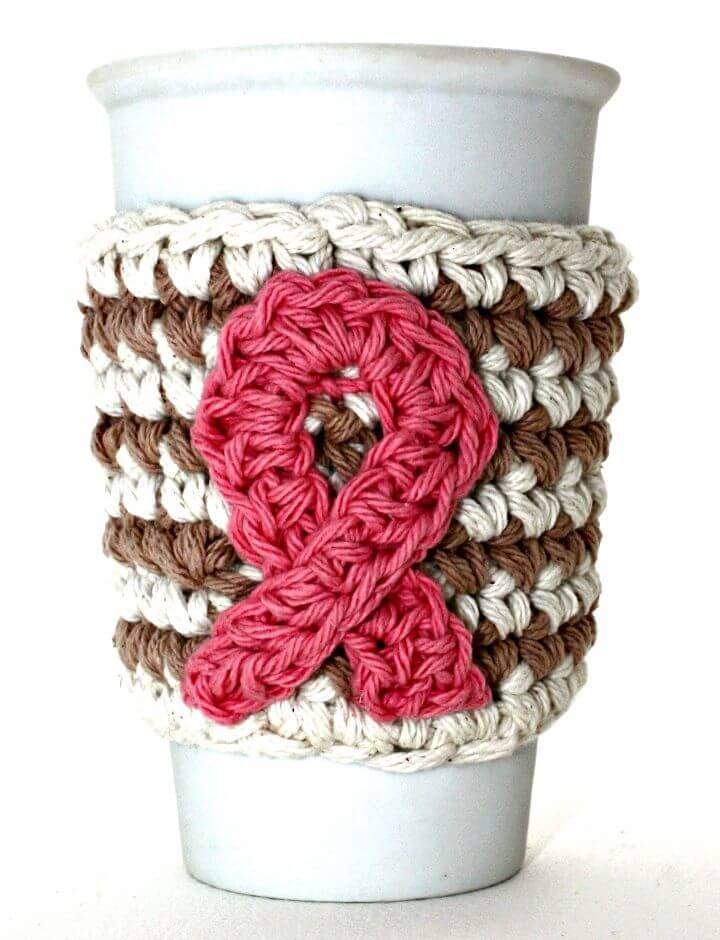 How To Free Crochet Breast Cancer Awareness Coffee Cup Cozy Pattern