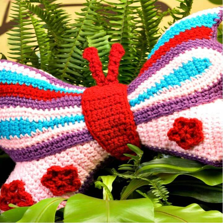 Easy Free Crochet Brilliant Butterfly Pillow Pattern