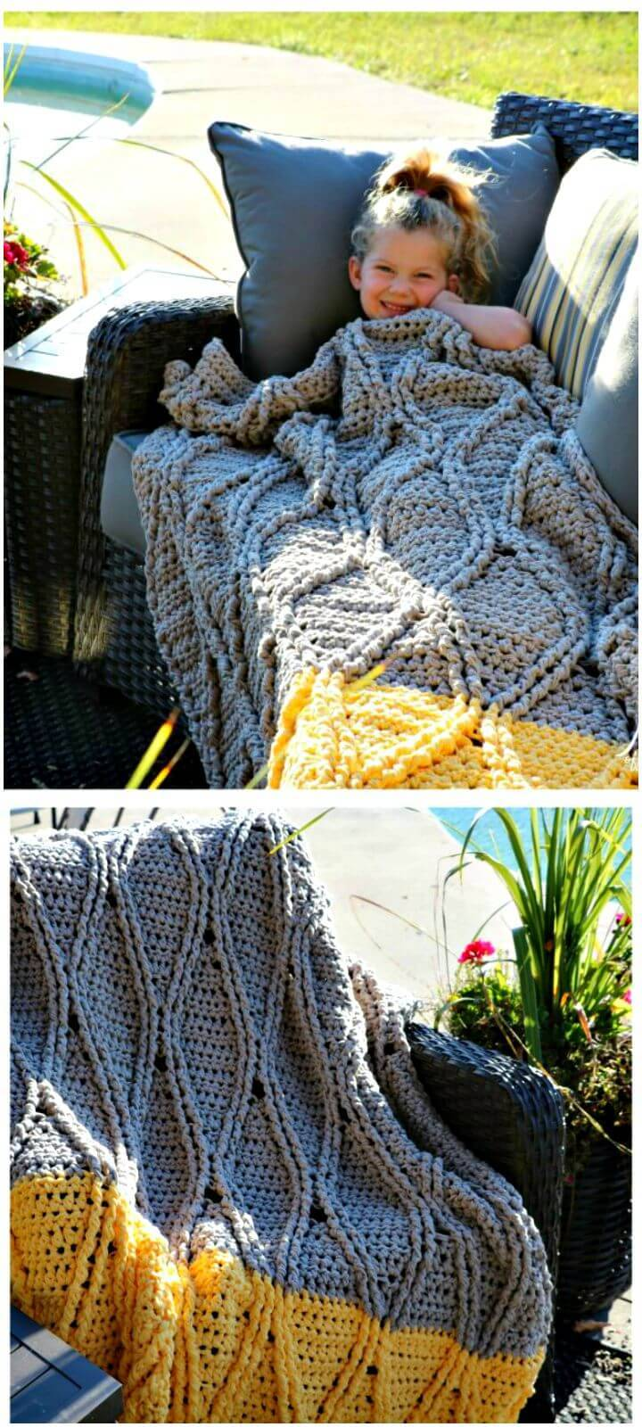 Free Crochet Bulky And Quick Cabled Blanket Pattern
