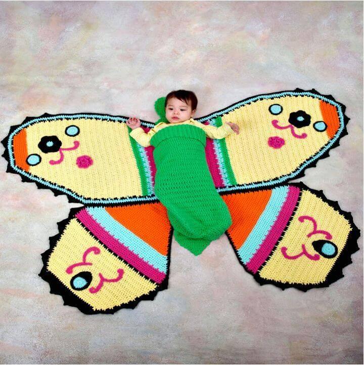 Free Crochet Butterfly Baby Blanket & Cocoon Pattern