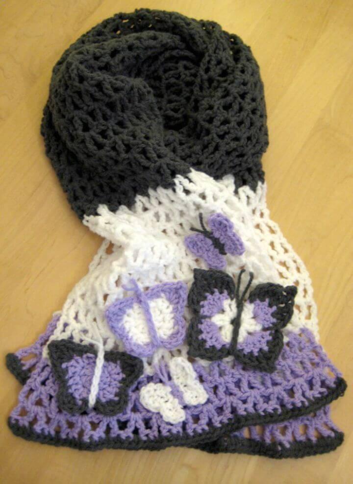 Free Crochet Butterfly Scarf Pattern