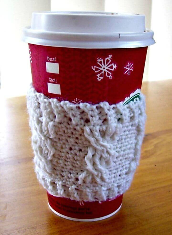 How To Free Crochet Cable Stitch Coffee Sleeve Pattern