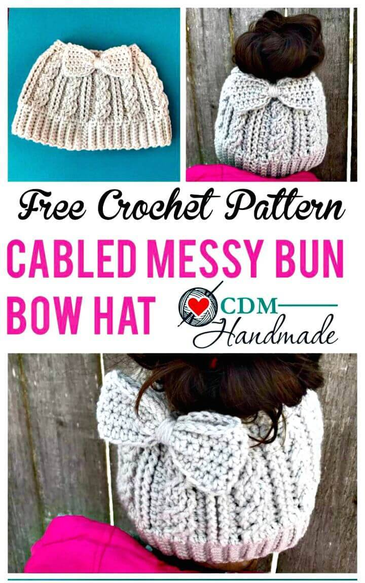 Easy Free Crochet Cabled Messy Bun Bow Hat Pattern