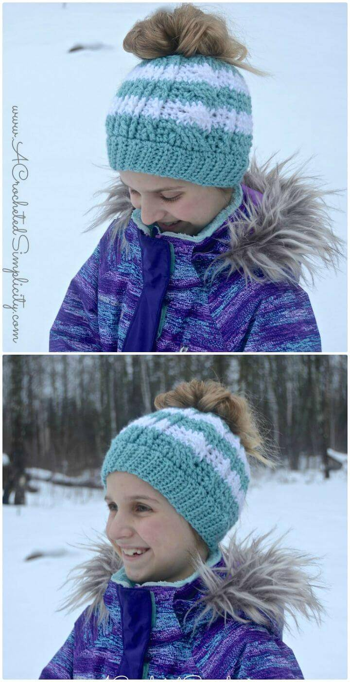How To Free Crochet Cabled Messy Bun Hat - Kids' Sizes Video Tutorial Included