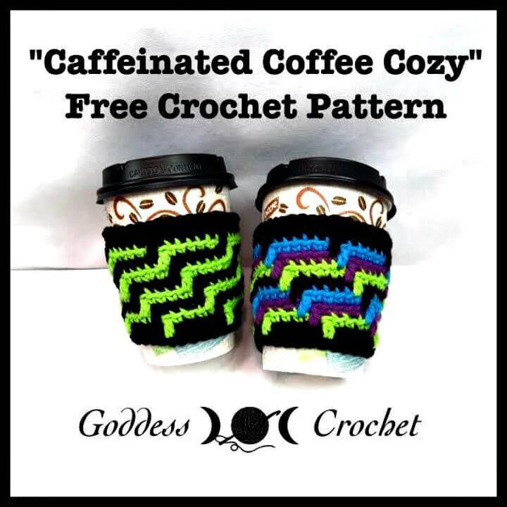 Easy Free Crochet Caffeinated Coffee Cozy Pattern