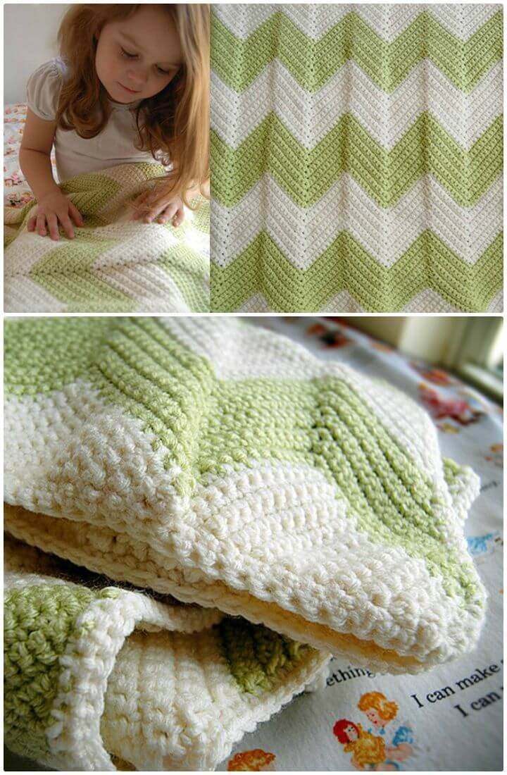 Crochet Chevron Baby Blanket With A Straight Edge- Free Pattern