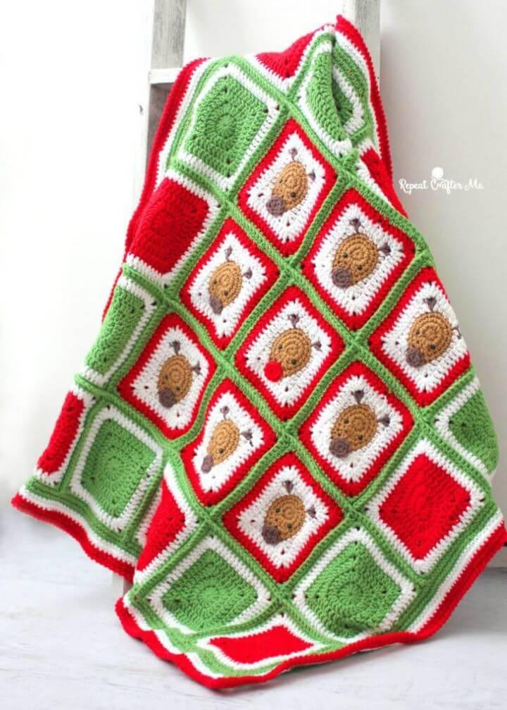 Crochet Christmas Reindeer Blanket - Free Pattern