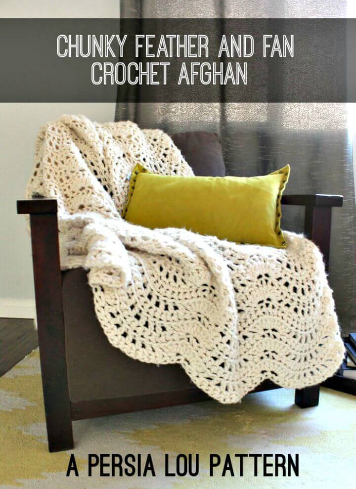 How To Crochet Chunky Feather And Fan Blanket Pattern
