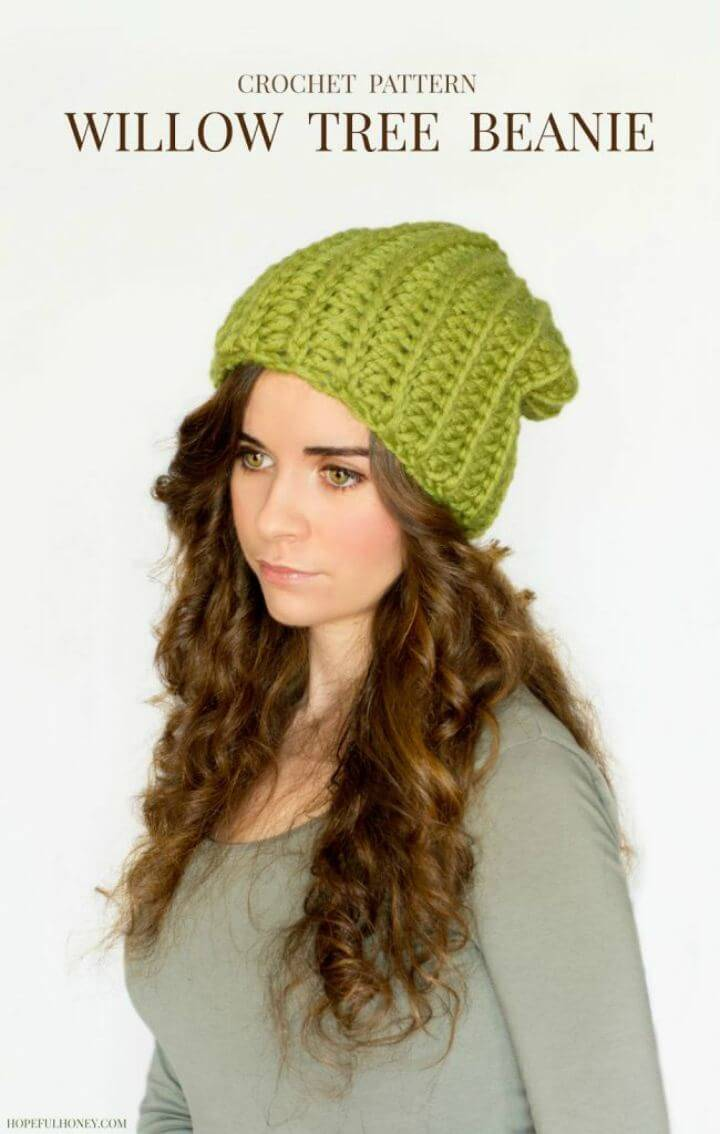 Free Crochet Chunky Willow Tree Slouchy Beanie Hat Pattern