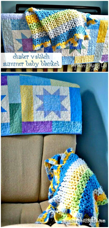 Crochet Cluster V-Stitch Baby Blanket - Free Pattern