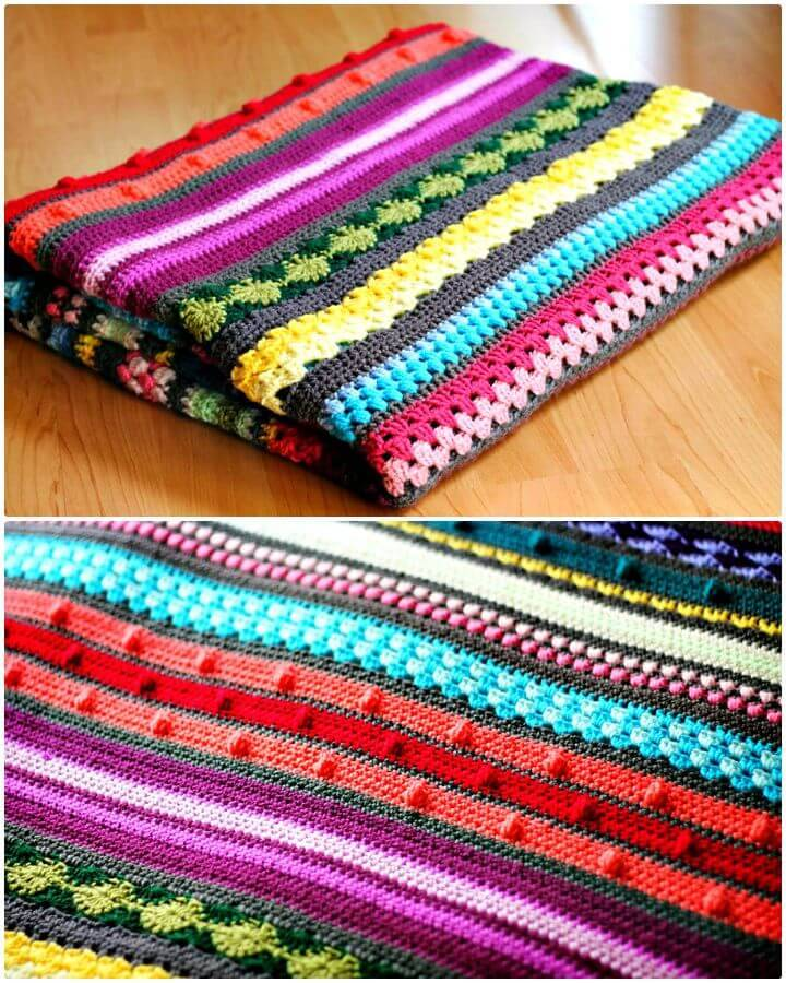 Häkeln Sie bunte Regenbogen Sampler Decke - kostenlose Muster