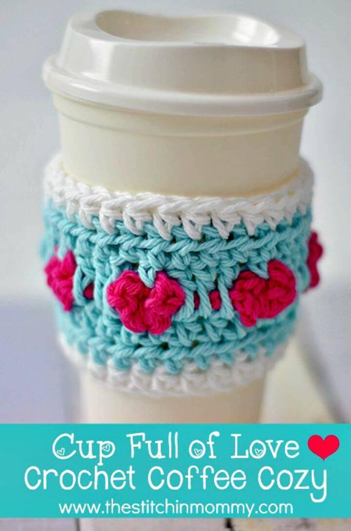 Easy Free Crochet Cup Full Of Love Coffee Cozy Pattern