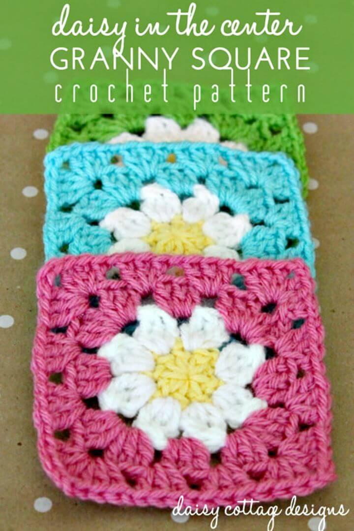 Easy Free Crochet Daisy Granny Square Pattern