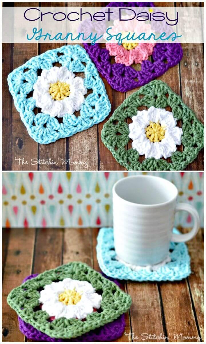 Easy Free Crochet Daisy Granny Squares Pattern