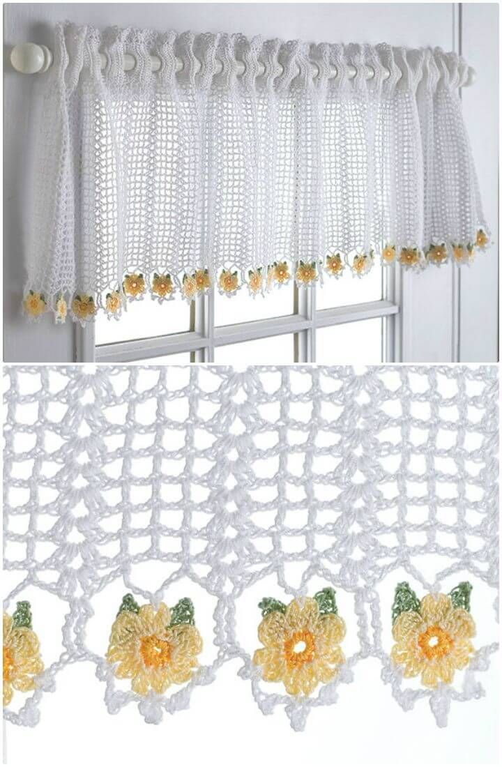 Free Crochet Daisy Valance - Curtain Patterns
