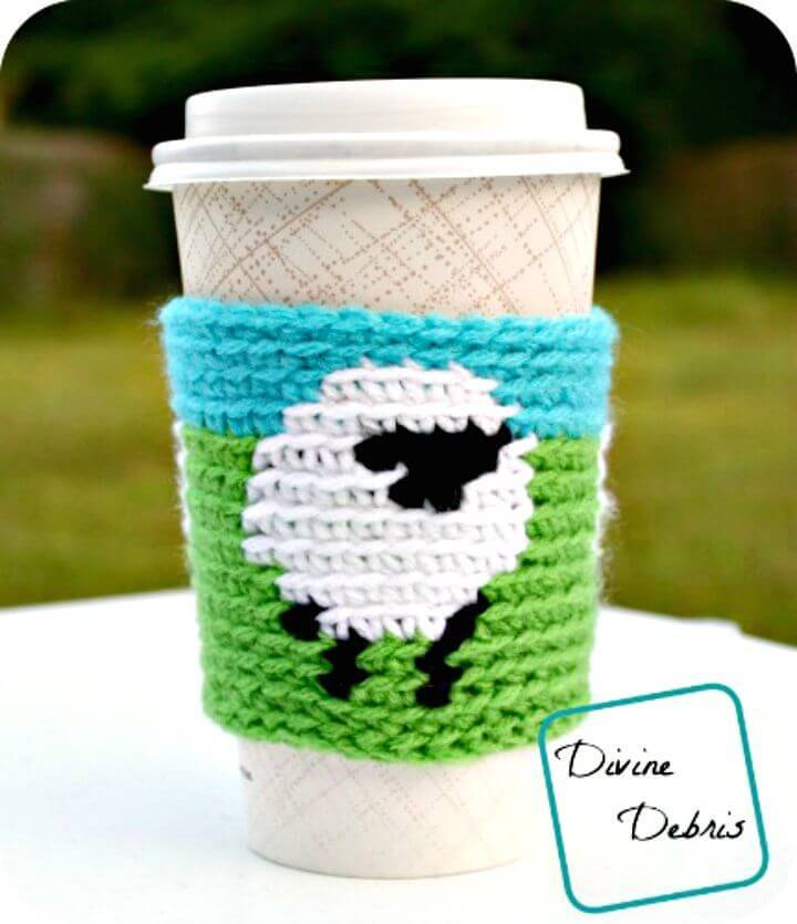 Easy Free Crochet Dancing Sheep Mug Cozy Pattern