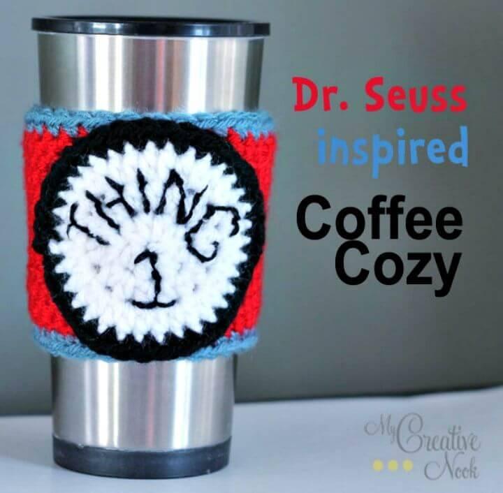 Easy Free Crochet Dr. Seuss Inspired Coffee Cozy Pattern