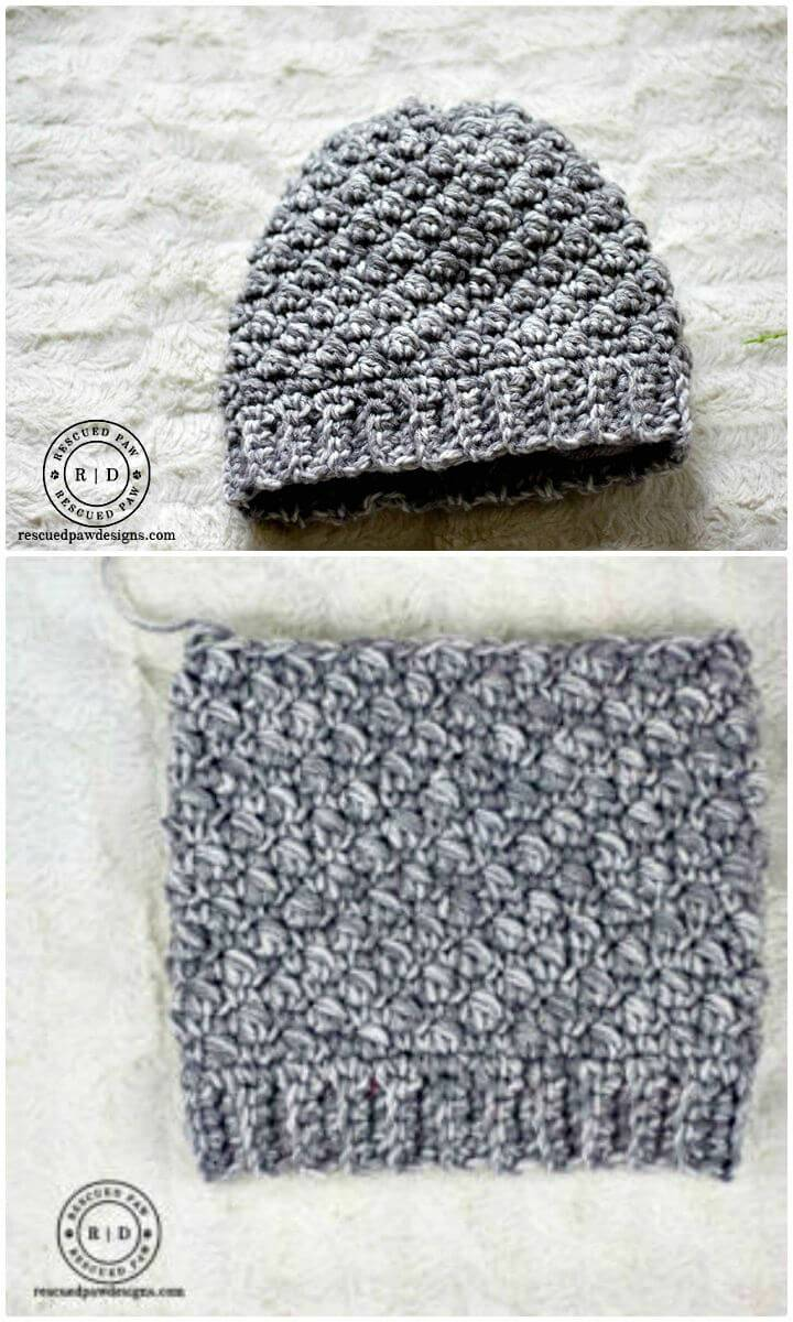 How To Free Crochet Emily Diagonal Beanie Hat Pattern