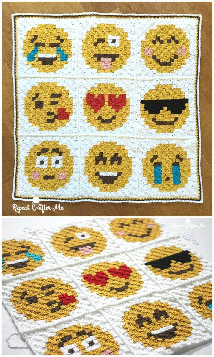 How To Crochet Emoji C2C Graphgan - Free Pattern