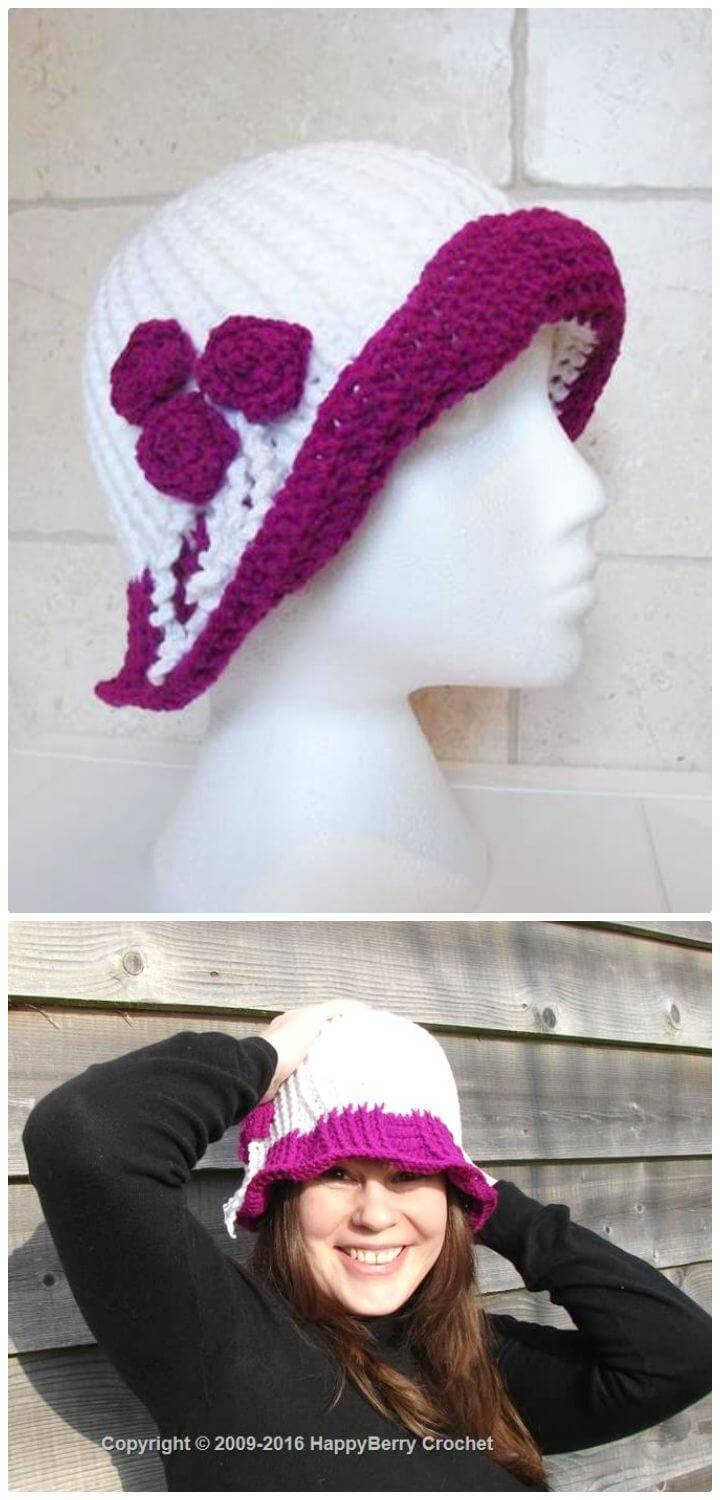 Free Crochet English Rose Cloche Hat Pattern