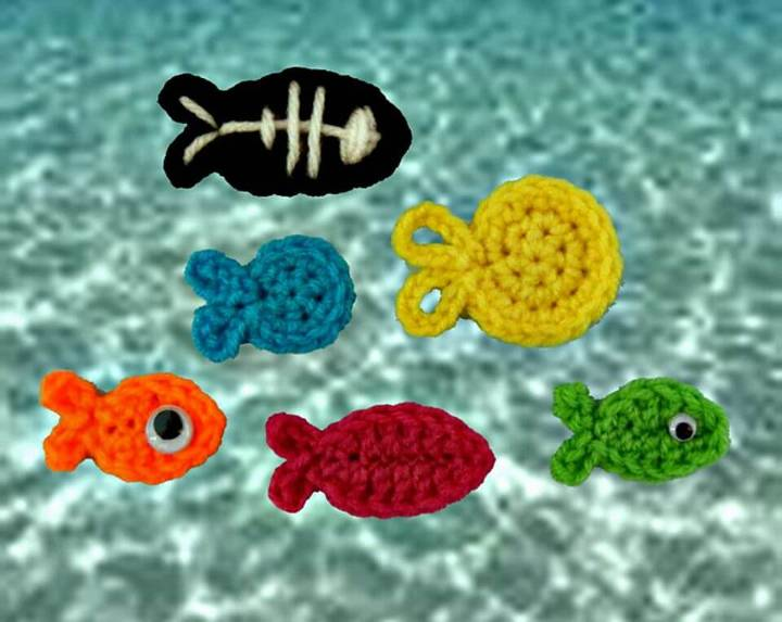 Easy Free Crochet Fish Appliques Pattern
