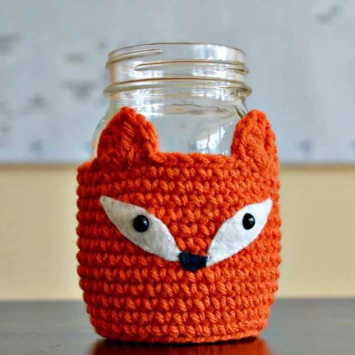 Free Crochet Fox Mason Jar Cosy Pattern
