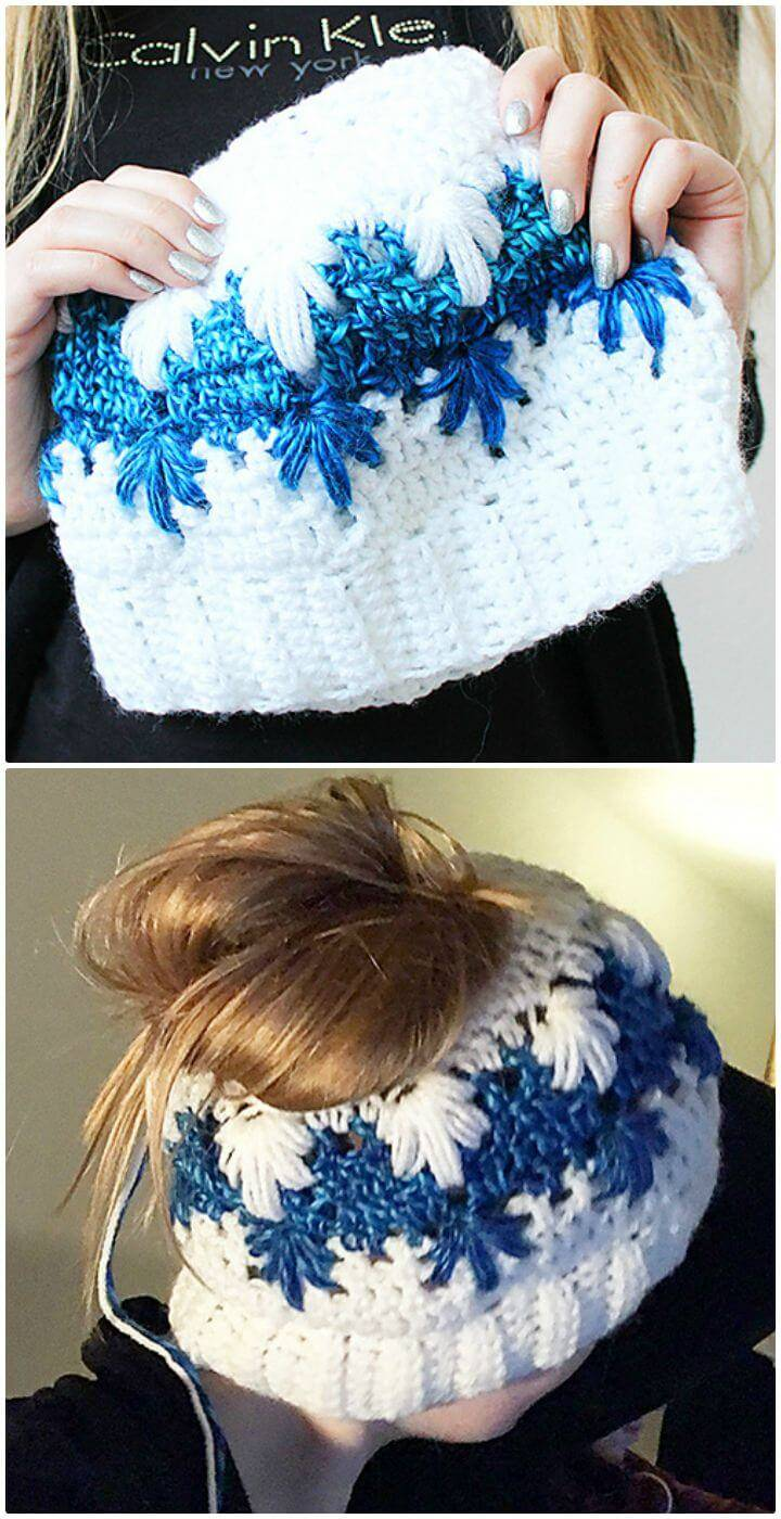 Free Crochet Frozen Winter (Bun) Hat Pattern