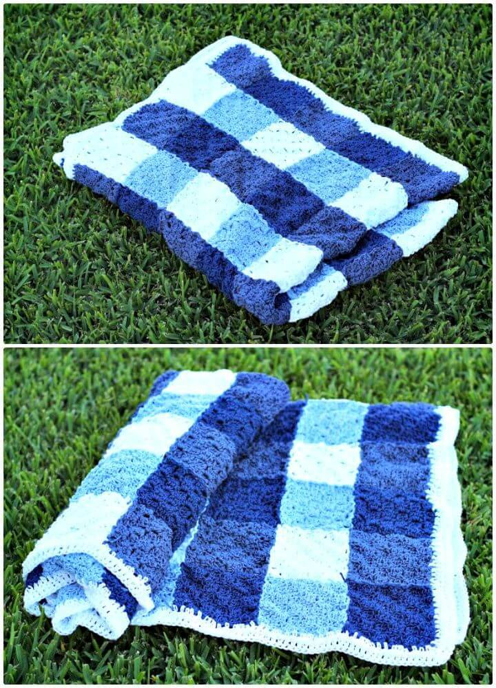 How To Free Crochet Gingham Picnic Blanket Pattern